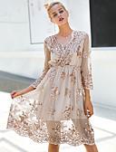 hesapli Kokteyl Elbiseleri-Kadın's Temel / Sokak Şıklığı İnce A Şekilli / Kılıf / Çan Elbise Payetler V Yaka Diz-boyu