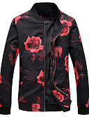 cheap Men's Jackets & Coats-Men's Plus Size Jacket - Floral / Botanical Stand / Long Sleeve