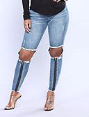 tanie Damskie spodnie-Damskie Rurki Jeansy Spodnie Solidne kolory Wysoka talia