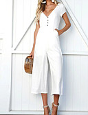 cheap Women's Dresses-Women's Wide Leg Daily / Going out Deep V White Black Khaki Jumpsuit, Solid Colored M L XL Sleeveless