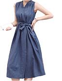 זול שמלות נשים-צווארון V מידי שמלה נדן רזה כותנה ליציאה בגדי ריקוד נשים