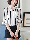 cheap Men's Blazers & Suits-Women's Work Basic / Street chic Plus Size Loose Blouse - Striped Print Stand / Spring / Summer
