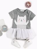 povoljno Kompletići za bebe-Dijete Djevojčice Jednobojni / Print / Color block Kratki rukav Jednodijelno