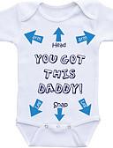billige BabyGutterdrakter-Baby Gutt Grunnleggende Daglig Trykt mønster Printer Kort Erme Bomull Body Hvit