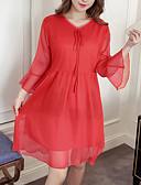 povoljno Majica s rukavima-Žene A kroj Haljina Jednobojni Iznad koljena