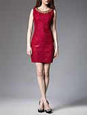 tanie Sukienki-Damskie Moda miejska Szczupła Bodycon Sukienka - Solidne kolory, Koronka Wysoka talia Nad kolano / Lato