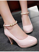cheap Women's Dresses-Women's Shoes PU(Polyurethane) Spring Comfort / Basic Pump Heels Stiletto Heel White / Black / Pink
