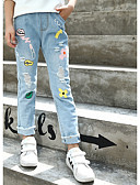 preiswerte Modische Unterwäsche-Kinder Mädchen Aktiv / Street Schick Alltag / Festtage Druck Quaste / Loch / Druck Baumwolle Jeans Blau 140