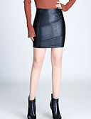 tanie Damska spódnica-Damskie Sztuczna skóra Bodycon Spódnice - Wyjściowe Solidne kolory Wysoka talia