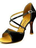 رخيصةأون هدايا-للمرأة أحذية رقص / صالة الرقص ستان / جلد كعب كعب مخصص مخصص أحذية الرقص أسود / أحمر / أصفر