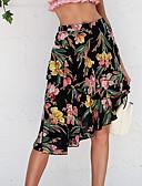 cheap Women's Skirts-Women's Going out Asymmetrical A Line Skirts - Floral High Waist