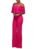 cheap Women's Jumpsuits & Rompers-women's going out jumpsuit - solid colored wide leg boat neck