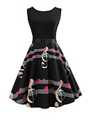povoljno Vintage kraljica-Žene Vintage Swing kroj Haljina Geometrijski oblici Do koljena