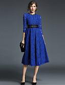 cheap Women's Dresses-Women's Holiday / Going out Vintage / Street chic A Line / Swing Dress - Color Block Lace High Waist Spring Blue Khaki L XL XXL