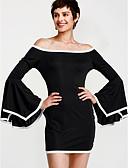 cheap Women's Dresses-Women's Going out Flare Sleeve Sheath Dress - Color Block Black Asymmetrical Boat Neck