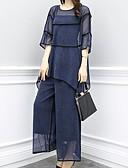 ieftine Costum Damă Două Bucăți-Pentru femei Mărime Plus Size Șic Stradă / Sofisticat Muncă Larg Lung Set - Mată, Pantaloni Picior Larg / Vară