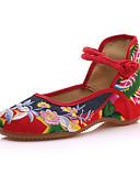 ieftine Neopren-Pentru femei Pantofi Pânză Primavara vara / Toamna iarna Confortabili Pantofi Flați Toc Drept Vârf rotund Cataramă Rosu