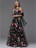 hesapli Gelinlikler-A-Şekilli Taşlı Yaka Yere Kadar Dantelalar Tema / Baskı ile Balo / Resmi Akşam Elbise tarafından TS Couture®