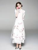 abordables Robes à Motifs-Femme Vacances Rétro / Chinoiserie Midi Balançoire Robe - Brodée, Fleur Mao Eté Blanc L XL XXL Demi Manches