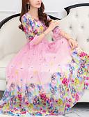 tanie Print Dresses-Damskie Szczupła Swing Sukienka Dekolt w kształcie litery U Midi