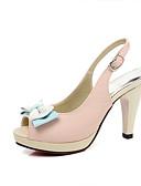 baratos Vestidos de Festa-Mulheres Sapatos Couro Ecológico Verão Chanel Sandálias Salto Robusto Peep Toe Laço Bege / Azul / Rosa claro