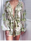 رخيصةأون جمبسوت ورومبرز للنساء-ثياب خارجية فضفاضة نسائي محاك بربطات - ورد أساسي نحيل دون الكتف / منخفضة V رقبة قطن مناسب للخارج / الصيف / مثير