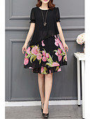 ieftine Rochii de Damă-Pentru femei Mărime Plus Size De Bază Mâneci Bufante Șifon Rochie - Imprimeu, Floral Lungime Genunchi Floarea Soarelui / Vară