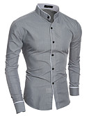 ieftine Maieu & Tricouri Bărbați-Bărbați Guler Standing Cămașă Muncă Bumbac Afacere / De Bază - Mată / Manșon Lung
