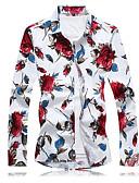 billige Herreskjorter-Bomull Skjorte Herre - Blomstret / Vennligst velg én størrelse over din normale størrelse. / Langermet