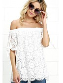 cheap Women's Blouses-Women's Basic Blouse - Solid Colored Off Shoulder / Summer / Lace
