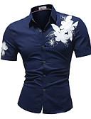 זול חולצות לגברים-פרחוני רזה כותנה, חולצה - בגדי ריקוד גברים / אנא בחר\י מידה אחת גדולה יותר מהמידה הנורמלית שלך. / שרוולים קצרים