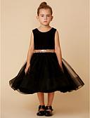 זול שמלות לילדות פרחים-נסיכה באורך  הברך שמלה לנערת הפרחים - טול / קטיפה ללא שרוולים עם תכשיטים עם פפיון(ים) / חגורה על ידי LAN TING BRIDE®