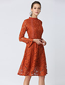 cheap Print Dresses-Women's Holiday / Going out Vintage / Sophisticated A Line Dress - Solid Colored Lace Stand Spring Camel L XL XXL