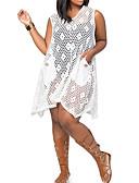 tanie Sukienki-Damskie Luźna Spodnie - Solidne kolory Z wycięciem Biały / W serek