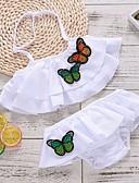 זול בגדי ים לבנות-בגדי ים כותנה קפלים / שרוכים לכל האורך / דפוס דפוס / קולור בלוק ספורט בסיסי בנות ילדים