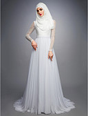 cheap Wedding Dresses-A-Line Jewel Neck Court Train Lace / Tulle Made-To-Measure Wedding Dresses with by LAN TING BRIDE®