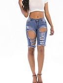 abordables Pantalones para Mujer-Mujer Activo Vaqueros / Shorts Pantalones - Un Color Azul y Blanco