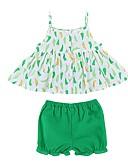 Χαμηλού Κόστους Βρεφικά σετ ρούχων-Μωρό Κοριτσίστικα Ενεργό Καθημερινά Στάμπα Αμάνικο Κανονικό Βαμβάκι / Πολυεστέρας Σετ Ρούχων Πράσινο του τριφυλλιού