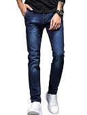 ieftine Pantaloni Bărbați si Pantaloni Scurți-Bărbați Simplu / De Bază Bumbac Zvelt Blugi Pantaloni - Mată Albastru piscină