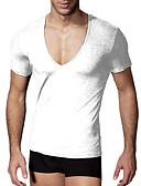 baratos Camisetas & Regatas Masculinas-Homens Camiseta Sólido Algodão Decote V / Manga Curta