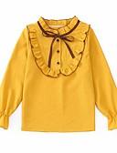 billige Piketopper-Barn Jente Aktiv / Gatemote Daglig / Ut på byen Lapper Drapering Langermet Normal Rayon Skjorte Hvit