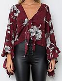 זול חולצה-פרחוני צווארון V כותנה, חולצה - בגדי ריקוד נשים