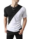 abordables Camisetas y Tops de Hombre-Hombre Chic de Calle / Punk & Gótico Camiseta, Escote Redondo Bloques Negro L / Manga Corta