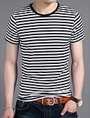 cheap Men's Jackets & Coats-Men's Linen T-shirt - Striped Round Neck / Short Sleeve