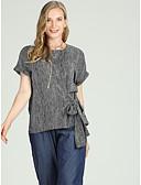 זול Jackets-פסים רזה סגנון רחוב עבודה מידות גדולות חולצה - בגדי ריקוד נשים פפיון