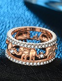 cheap Women's Hats-Women's Stylish Hollow Out Band Ring Ring - 18K Gold Plated, Copper, Rose Gold Plated Elephant Vintage, Hyperbole, Hip-Hop 5 / 6 / 7 / 8 / 9 Gold / Rose Gold For Carnival Bar / Imitation Diamond