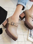 abordables Panties-Mujer Zapatos PU Primavera verano Confort Oxfords Tacón Cuadrado Dedo redondo Negro / Gris / Almendra