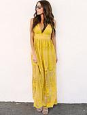 cheap Maxi Dresses-Women's Daily Maxi Chiffon Dress Deep V Blue Black Yellow L XL XXL