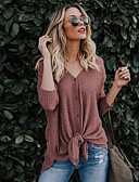 tanie Suknie i sukienki damskie-T-shirt Damskie Moda miejska Bawełna W serek Solidne kolory