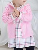 billige Ytterklær til baby-Baby Jente Grunnleggende Fargeblokk Langermet Normal Bomull Dun- og bomullsfôret Rosa